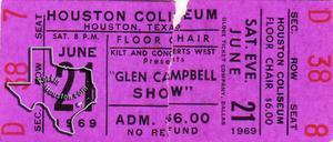 Glen Campbell - Jun 21, 1969 at Sam Houston Coliseum