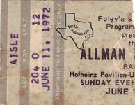 Allman Brothers - Jun 11, 1972 at Hofheinz Pavilion