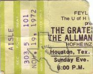 Allman Brothers - Nov 19, 1972 at Hofheinz Pavilion