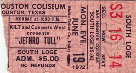 Jethro Tull - Jun 19, 1972 at Sam Houston Coliseum