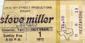 Steve Miller Band - Oct 1, 1972 at Houston Music Hall