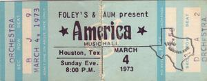 America - Mar 4, 1973 at Houston Music Hall