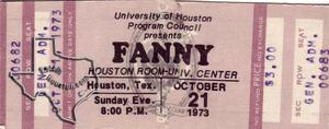 Fanny - Oct 21, 1973 at Houston Room, University of Houston