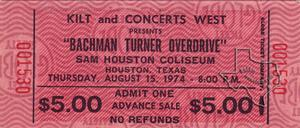 Bachman Turner Overdrive - Aug 15, 1974 at Sam Houston Coliseum