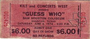 Guess Who - May 8, 1974 at Sam Houston Coliseum