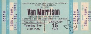 Van Morrison - Jan 15, 1974 at Houston Room, University of Houston