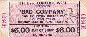Bad Company - Jun 10, 1975 at Sam Houston Coliseum