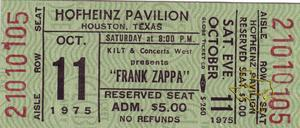 Frank Zappa - Oct 11, 1975 at Hofheinz Pavilion