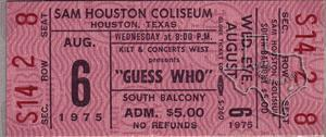 Guess Who - Aug 6, 1975 at Sam Houston Coliseum