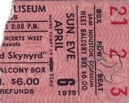 Lynyrd Skynyrd - Apr 6, 1975 at Sam Houston Coliseum