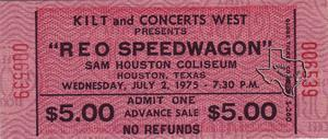 REO Speedwagon - Jul 2, 1975 at Sam Houston Coliseum