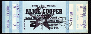 Alice Cooper - Jul 2, 1977 at Sam Houston Coliseum