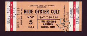 Blue Oyster Cult - Nov 5, 1977 at Sam Houston Coliseum