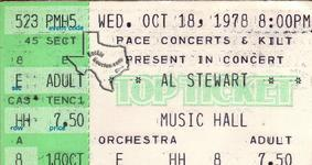 Al Stewart - Oct 18, 1978 at Houston Music Hall
