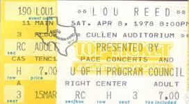 Lou Reed - Apr 8, 1978 at Cullen Auditorium