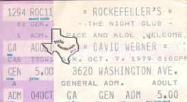 David Werner - Oct 5, 1979 at Rockefellers