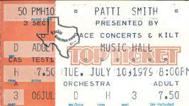 Patti Smith - Jul 10, 1979 at Houston Music Hall