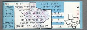 Gary Numan - Oct 17, 1982 at Cullen Auditorium