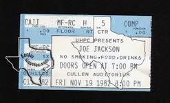 Joe Jackson - Nov 19, 1982 at Cullen Auditorium
