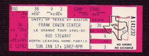 Rod Stewart - Jan 17, 1982 at Austin Special Events Center