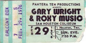 Roxy Music - Feb 29, 1976 at Sam Houston Coliseum