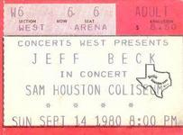 Jeff Beck - Sep 14, 1980 at Sam Houston Coliseum