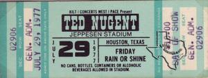 Ted Nugent - Jul 29, 1977 at Jeppesen Stadium