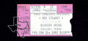 Rod Stewart (also see Faces) - Jan 15, 1982 at Dallas Reunion Arena