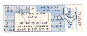 Adam Ant - May 16, 1983 at Sam Houston Coliseum