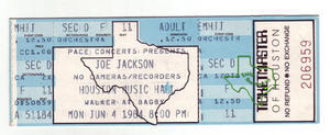 Joe Jackson - Jun 4, 1984 at Houston Music Hall