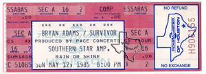 Bryan Adams - May 12, 1985 at Astroworld / Southern Star