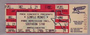 Simple Minds - Apr 5, 1986 at Astroworld / Southern Star