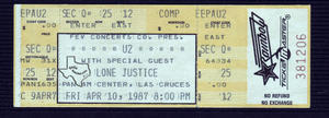 U2 - Apr 10, 1987 at Pan Am Center, Las Cruces, New Mexico
