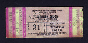 Warren Zevon - May 31, 1978 at Cullen Auditorium
