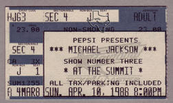 Michael Jackson (also see Jacksons) - Apr 10, 1988 at The Summit