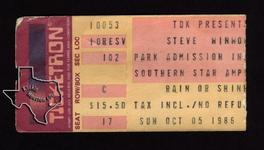 Steve Winwood - Oct 5, 1986 at Astroworld / Southern Star