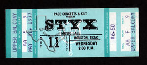 Styx - May 11, 1977 at Houston Music Hall