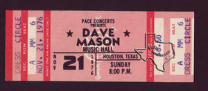 Dave Mason - Nov 21, 1976 at Houston Music Hall