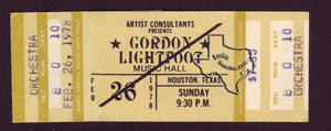 Gordon Lightfoot - Feb 26, 1978 at Houston Music Hall
