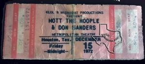 Mott the Hoople - Dec 15, 1972 at Houston, Texas